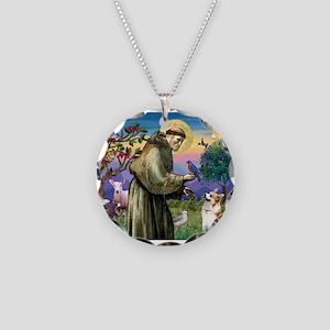 St Francis / Welsh Corgi (p) Necklace Circle Charm
