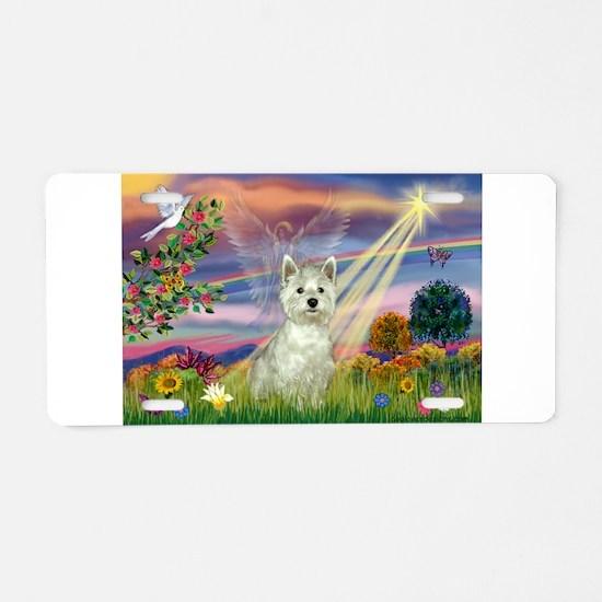 Cloud Angel / Westie Aluminum License Plate