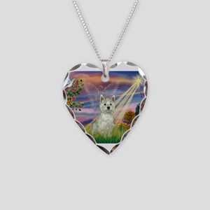 Cloud Angel / Westie Necklace Heart Charm