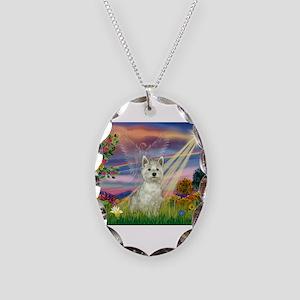 Cloud Angel / Westie Necklace Oval Charm