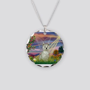 Cloud Angel / Westie Necklace Circle Charm