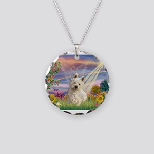 Cloud Angel & Westie Necklace Circle Charm