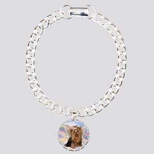 Yorkie Angel in Clouds Charm Bracelet, One Charm