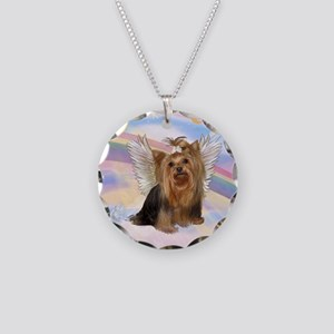Yorkie Angel in Clouds Necklace Circle Charm