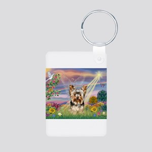 Cloud Angel & Yorkie Aluminum Photo Keychain