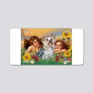 Angels with Yorkie Aluminum License Plate