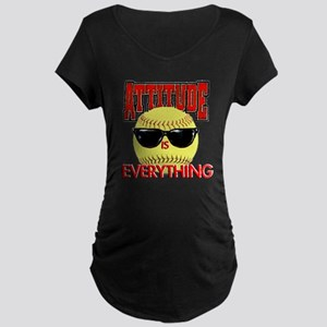 Attitude-Softball Maternity Dark T-Shirt