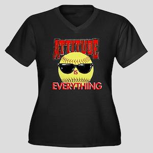 Attitude-Sof Women's Plus Size V-Neck Dark T-Shirt