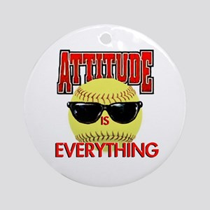 Attitude-Softball Round Ornament