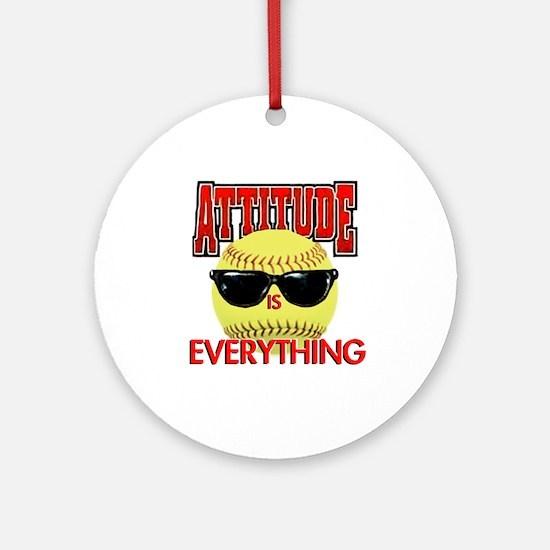 Attitude-Softball Round Ornament