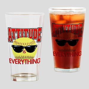 Attitude-Softball Drinking Glass