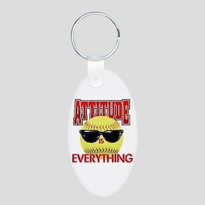 Attitude-Softball Aluminum Oval Keychain