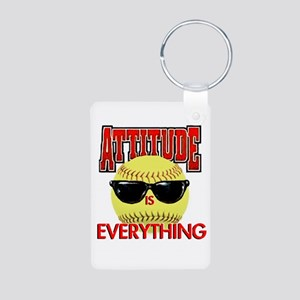 Attitude-Softball Aluminum Photo Keychain