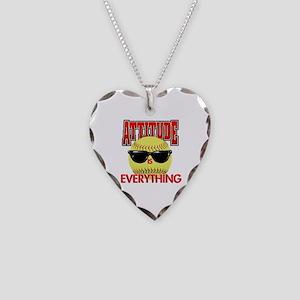 Attitude-Softball Necklace Heart Charm