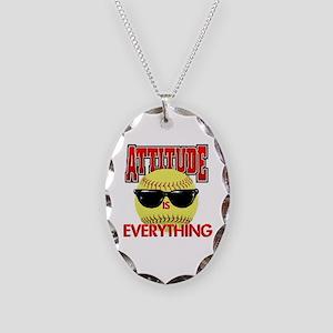 Attitude-Softball Necklace Oval Charm