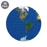 """World Map Sphere 2: 3.5"""" Button (10 pack)"""