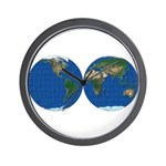 World Map Double Sphere: Wall Clock