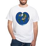 World Map Heart: White T-Shirt front