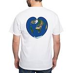 World Map Heart: White T-Shirt back