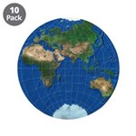 """World Map Sphere 3: 3.5"""" Button (10 pack)"""