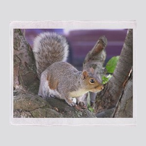 Gray Squirrel in Tree Throw Blanket