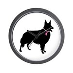 Collie Breast Cancer Support Wall Clock