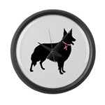 Collie Breast Cancer Support Large Wall Clock