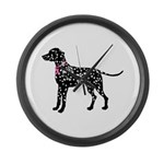 Dalmatian Breast Cancer Support Large Wall Clock
