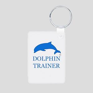 Dolphin Trainer Aluminum Photo Keychain