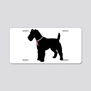 Fox Terrier Breast Cancer Support Aluminum License