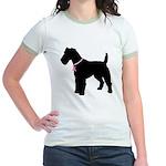 Fox Terrier Breast Cancer Support Jr. Ringer T-Shi