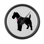 Fox Terrier Breast Cancer Support Large Wall Clock