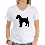 Fox Terrier Breast Cancer Support Women's V-Neck T