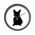 French Bulldog Breast Cancer Support Wall Clock