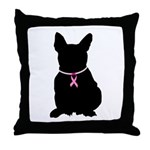French Bulldog Breast Cancer Support Throw Pillow