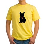 French Bulldog Breast Cancer Support Yellow T-Shir