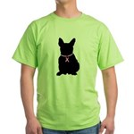 French Bulldog Breast Cancer Support Green T-Shirt