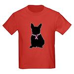 French Bulldog Breast Cancer Support Kids Dark T-S