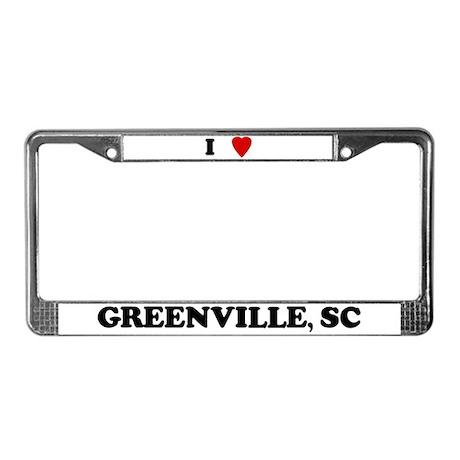 I Love Greenville License Plate Frame