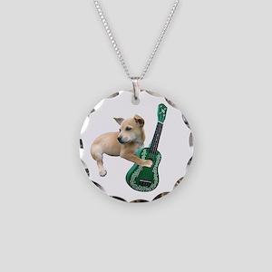Dog Playing Ukulele Necklace Circle Charm