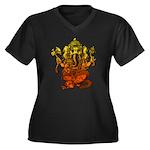 Ganesha7 Women's Plus Size V-Neck Dark T-Shirt