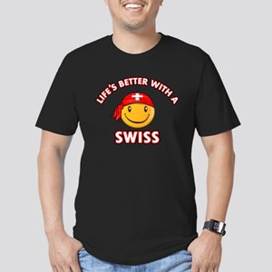 Cute Swiss design Men's Fitted T-Shirt (dark)