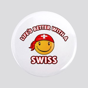 """Cute Swiss design 3.5"""" Button"""