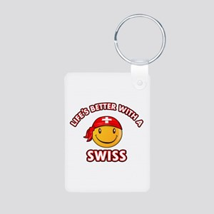 Cute Swiss design Aluminum Photo Keychain