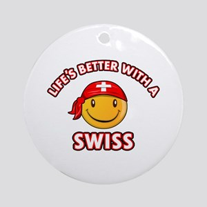 Cute Swiss design Ornament (Round)