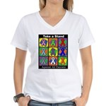 Take a Stand Cancer Ribbons Women's V-Neck T-Shirt