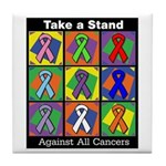 Take a Stand Cancer Ribbons Tile Coaster