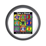 Take a Stand Cancer Ribbons Wall Clock