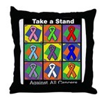 Take a Stand Cancer Ribbons Throw Pillow