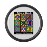 Take a Stand Cancer Ribbons Large Wall Clock